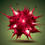 Abstract 3D structure polygonal network object, red deformed fig Royalty Free Stock Photo