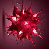 Abstract 3D structure polygonal network object, red deformed fig. Ure Royalty Free Stock Images