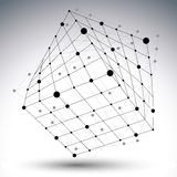 Abstract 3D structure polygonal vector network figure, contrast. Black and white art deformed figure  on white background Stock Images