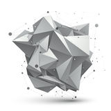 Abstract 3D structure polygonal vector network object, grayscale. Art deformed figure Royalty Free Stock Image