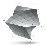 Abstract 3D structure polygonal vector network object, grayscale Royalty Free Stock Image
