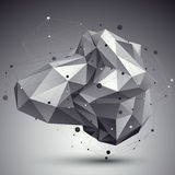 Abstract 3D structure polygonal vector network pattern, grayscal. E art deformed figure placed over contrast background Royalty Free Stock Image