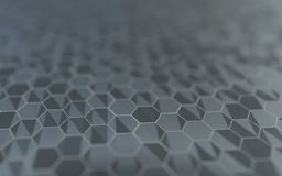 Abstract 3d surface with hexagons. Abstract 3d rendering of futuristic surface with hexagons Stock Image