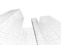 Abstract 3d tall buildings perspective view. Digital graphic background. Abstract tall buildings perspective view, black wire frame lines isolated on white royalty free illustration