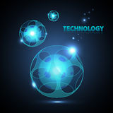 Abstract 3d technology sphere. Abstract 3d technology neon sphere Royalty Free Stock Photos