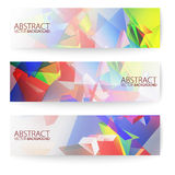Abstract 3d triangular banners set. Royalty Free Stock Image