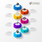 Abstract 3d van de tredeninfographics of chronologie malplaatje Vector Stock Afbeeldingen
