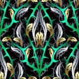 Abstract 3d vector naadloos patroon Bloemenachtergrond met fant Stock Foto
