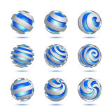 Abstract 3d vector sphere set. Set of 3d abstract vector blue sphere element Stock Images