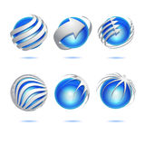 Abstract 3d vector sphere set Stock Photography
