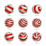 Abstract 3d vector sphere set. Set of 3d abstract vector red sphere element Stock Image