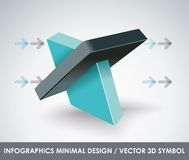 Abstract 3d vector symbol design template. Creative Business innovation concept icon Stock Photography