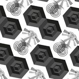 Abstract 3d vectorhand getrokken naadloos patroon met zwarte kubussen Royalty-vrije Stock Fotografie