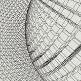 Abstract 3d Verlicht vervormd Mesh Sphere Het teken van het neon Futuristische Technologie HUD Element Vernietigd elegant groot Royalty-vrije Stock Foto