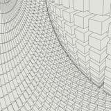 Abstract 3d Verlicht vervormd Mesh Sphere Het teken van het neon Futuristische Technologie HUD Element Vernietigd elegant groot Stock Afbeelding