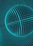Abstract 3d Verlicht vervormd Mesh Sphere Het teken van het neon Futuristische Technologie HUD Element Vernietigd elegant groot Stock Foto's