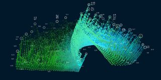Abstract 3D visualization. Big data. Futuristic infographics background.Social network and business analytics representation stock illustration