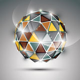 Abstract 3D vivid gala sphere with gemstone effect, gold and met. Al twinkle orb created from triangles, eps10 royalty free illustration