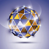 Abstract 3D vivid gala sphere with gemstone effect, twinkle orb. Created from triangles, eps10, violet background Stock Images
