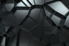 Abstract 3d voronoi grate on black background. Speaker grille. Chaotic line structure. 3D render illustration Stock Photos