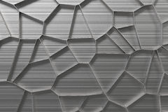 Abstract 3d voronoi grate on brushed metal background Stock Photo