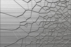 Abstract 3d voronoi grate on brushed metal background Royalty Free Stock Photos