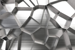 Abstract 3d voronoi grate on brushed metal background Stock Images