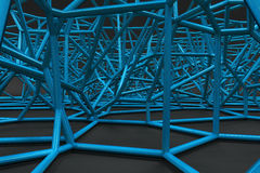 Abstract 3d voronoi lattice on black background. Atom grid. Chaotic line structure. 3D render illustration Royalty Free Stock Photo