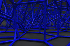 Abstract 3d voronoi lattice on black background Royalty Free Stock Images