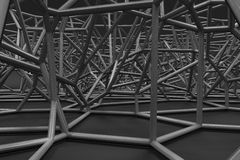 Abstract 3d voronoi lattice on black background Stock Photography