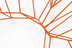 Abstract 3d voronoi lattice on white background. Atom grid. Chaotic line structure. 3D render illustration Royalty Free Stock Photo