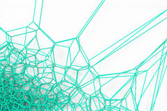 Abstract 3d voronoi lattice on white background. Atom grid. Chaotic line structure. 3D render illustration Royalty Free Stock Images