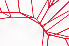 Abstract 3d voronoi lattice on white background. Atom grid. Chaotic line structure. 3D render illustration Royalty Free Stock Photos