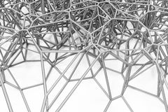 Abstract 3d voronoi lattice on white background. Atom grid. Chaotic line structure. 3D render illustration Stock Photos