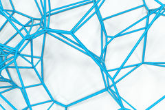 Abstract 3d voronoi lattice on white background. Atom grid. Chaotic line structure. 3D render illustration Royalty Free Stock Image