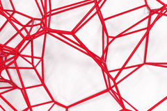 Abstract 3d voronoi lattice on white background. Atom grid. Chaotic line structure. 3D render illustration Stock Images
