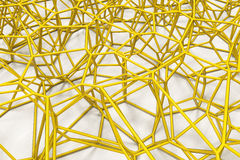 Abstract 3d voronoi lattice on white background. Atom grid. Chaotic line structure. 3D render illustration Stock Image