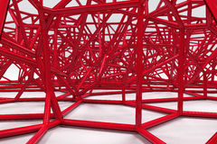 Abstract 3d voronoi lattice on white background. Atom grid. Chaotic line structure. 3D render illustration Royalty Free Stock Photography