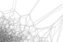 Abstract 3d voronoi lattice on white background. Atom grid. Chaotic line structure. 3D render illustration Stock Photography