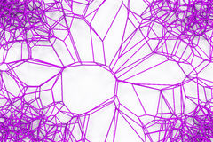 Abstract 3d voronoi lattice on white background. Atom grid. Chaotic line structure. 3D render illustration Stock Photo