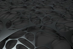 Abstract 3d voronoi organic structure on black background Stock Image