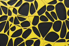 Abstract 3d voronoi organic structure on black background. Chaotic structure. 3D render illustration Royalty Free Stock Photos