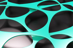 Abstract 3d voronoi organic structure on black background. Chaotic structure. 3D render illustration Royalty Free Stock Images