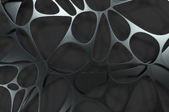 Abstract 3d voronoi organic structure on black background Stock Photos