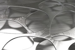 Abstract 3d voronoi organic structure made of brushed metal Royalty Free Stock Images