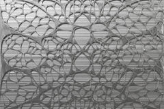 Abstract 3d voronoi organic structure made of brushed metal. Chaotic structure. 3D render illustration Stock Image