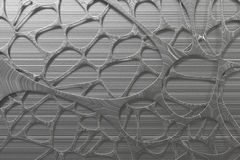 Abstract 3d voronoi organic structure made of brushed metal. Chaotic structure. 3D render illustration Stock Images