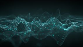 Abstract 3D wavy shape of glowing blue dots 3D rendering Stock Photos