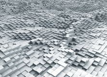 Abstract 3D white cubes topographic background. 3D rendering stock illustration