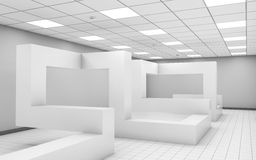 Abstract 3d white empty office room interior. Abstract white empty office room interior with chaotic geometric construction, 3d illustration royalty free illustration